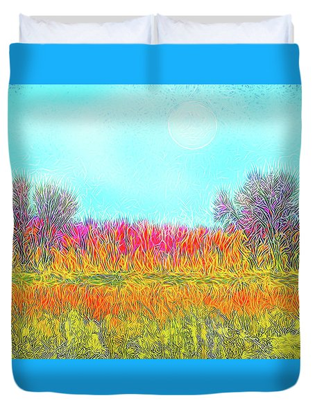 Duvet Cover featuring the digital art Moonlight On Golden Fields - Boulder County Colorado by Joel Bruce Wallach