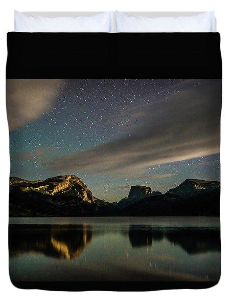 Moonlight On Green River Lake Duvet Cover