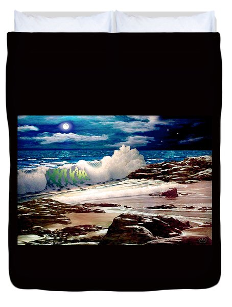 Moonlight On The Beach Duvet Cover
