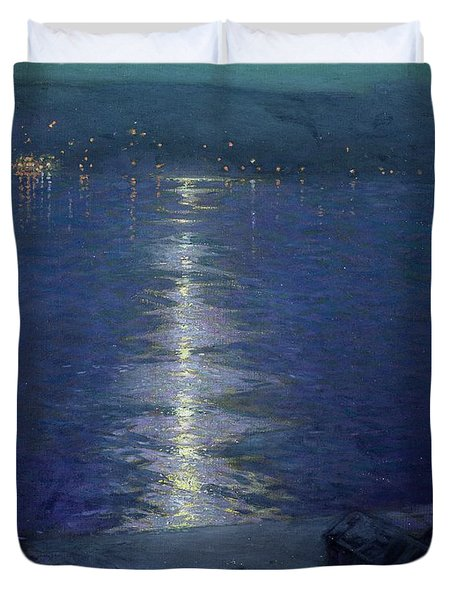 Moonlight On The River Duvet Cover by Lowell Birge Harrison