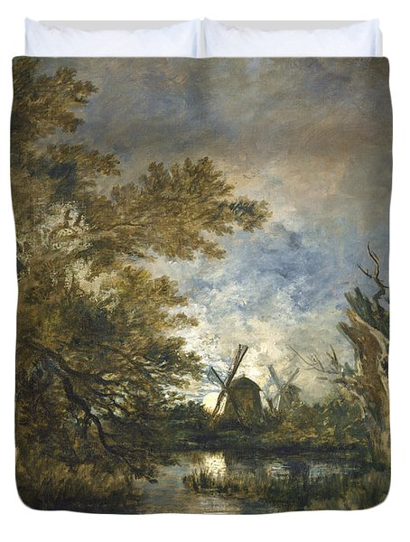 Moonlight On The Yare Duvet Cover
