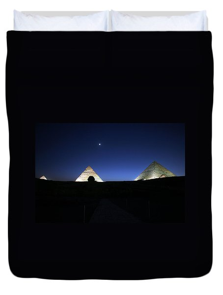 Moonlight Over 3 Pyramids Duvet Cover