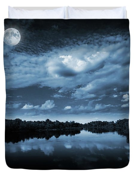 Moonlight Over A Lake Duvet Cover