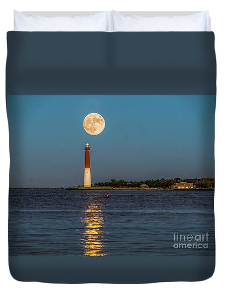 Moonlight Over Barnegat Lighthouse Duvet Cover