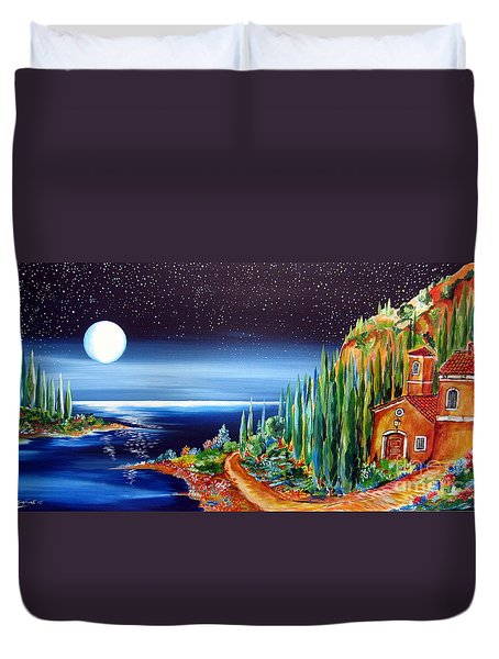 Moonlight Over My Tuscan Villa Duvet Cover by Roberto Gagliardi