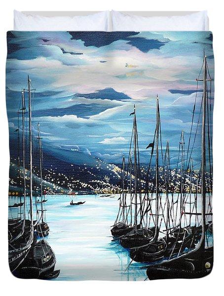 Moonlight Over Port Of Spain Duvet Cover by Karin  Dawn Kelshall- Best