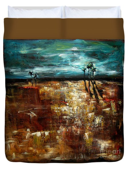 Moonlight Over The Marsh Duvet Cover by Linda Olsen