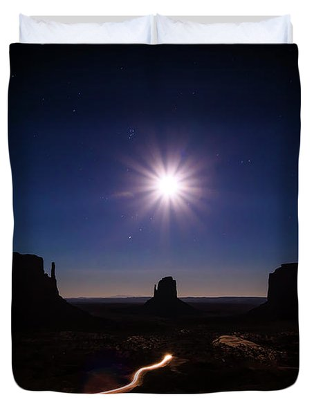 Moonlight Over Valley Duvet Cover