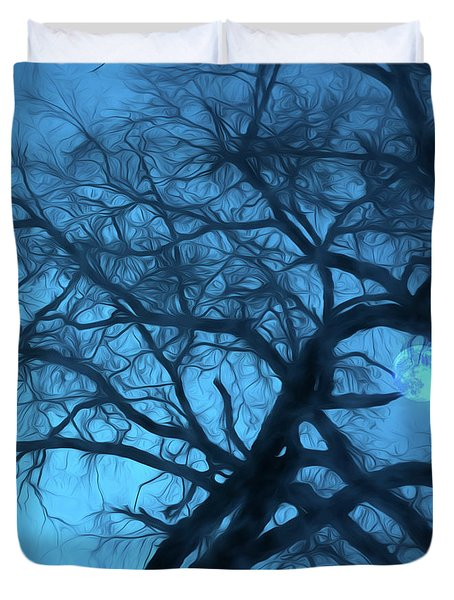 Moonlight Over  Vermont Duvet Cover by George Robinson