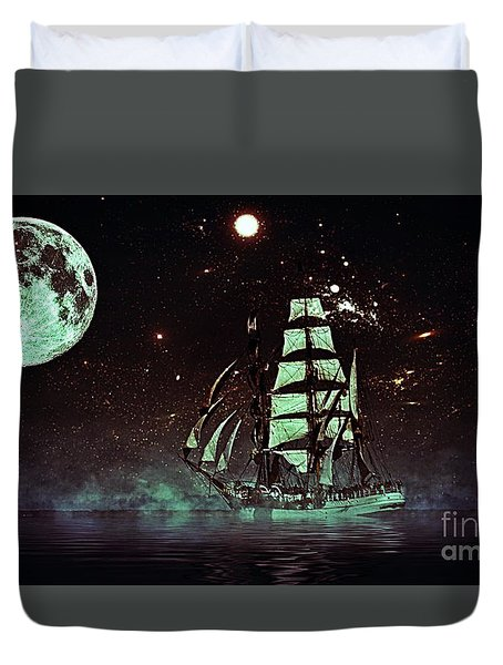 Moonlight Sailing Duvet Cover
