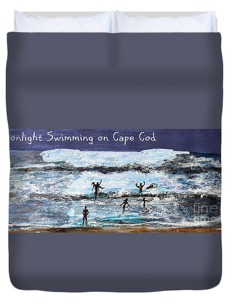 Moonlight Swimming On Cape Cod Duvet Cover