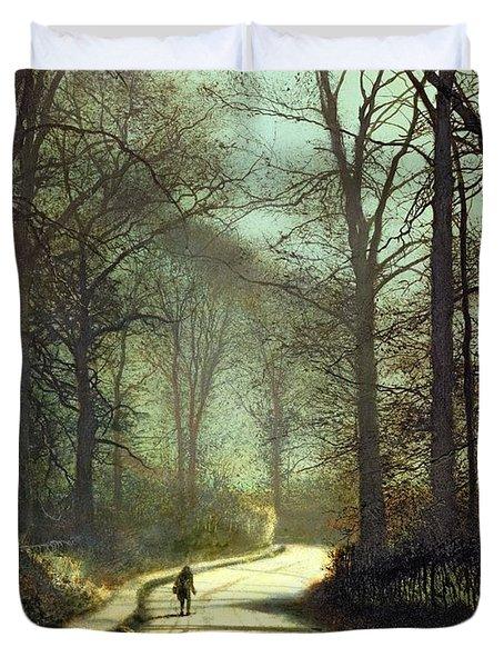 Moonlight Walk Duvet Cover by John Atkinson Grimshaw
