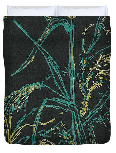 Duvet Cover featuring the mixed media Moonlight Wheat by Vicki  Housel