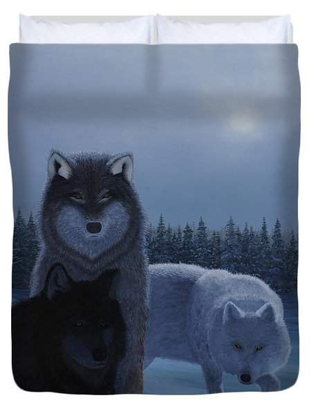 Moonlight Wolves Duvet Cover by Stanza Widen