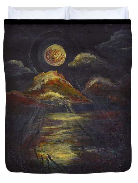 Moonlit Beach Guam Duvet Cover