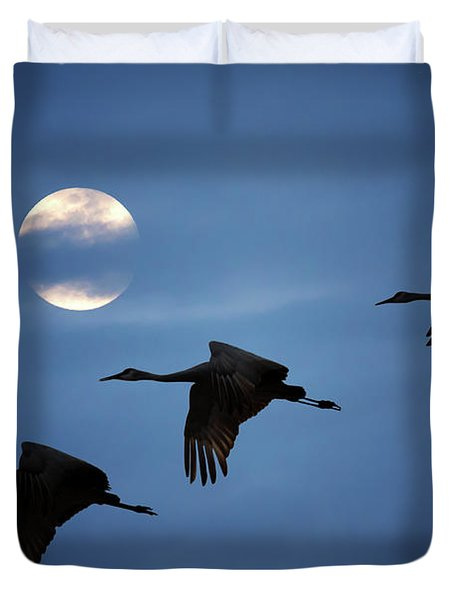 Moonlit Flight Duvet Cover