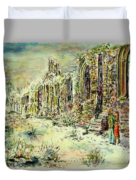 Moonlit Footsteps On Holy Ground Duvet Cover