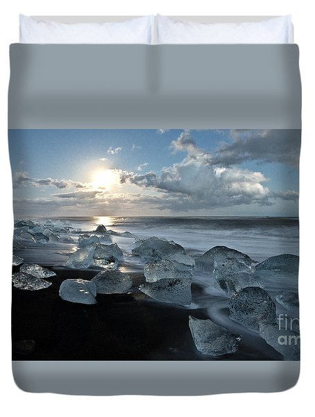 Moonlit Ice Beach Duvet Cover by Roddy Atkinson