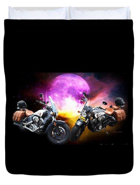 Moonlit Indian Motorcycle Duvet Cover