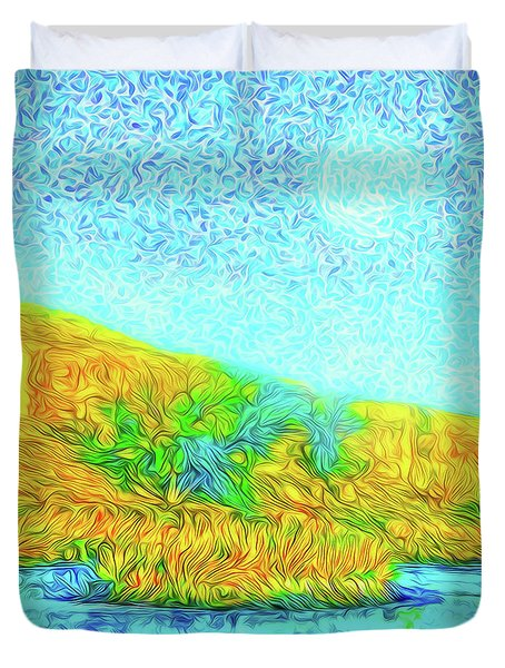 Duvet Cover featuring the digital art Moonlit Island Blue - Boulder County Colorado by Joel Bruce Wallach