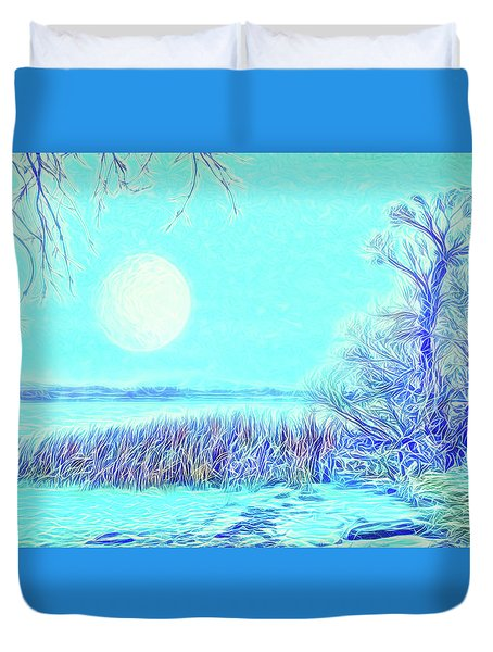 Duvet Cover featuring the digital art Moonlit Lake In Blue - Boulder County Colorado by Joel Bruce Wallach