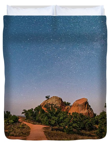 Moonlit Landscape At Enchanted Rock State Natural Area - Fredericksburg Texas Hill Country Duvet Cover