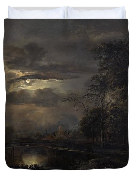 Moonlit Landscape With Bridge Duvet Cover