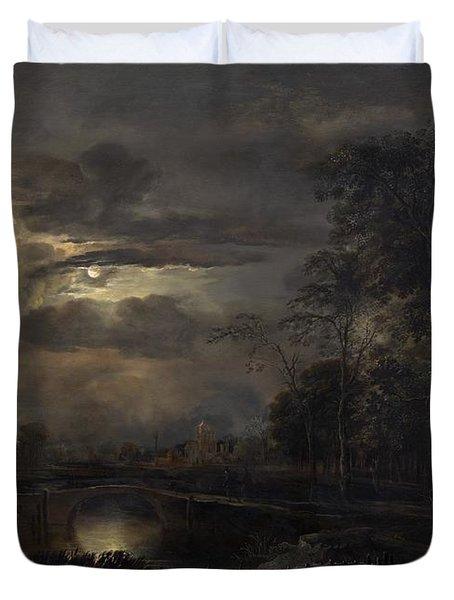 Moonlit Landscape With Bridge Duvet Cover