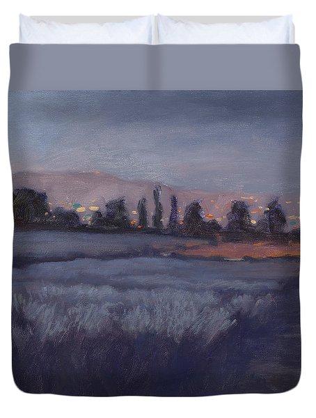 Moonlit Lavender Fields Duvet Cover by Jane Thorpe