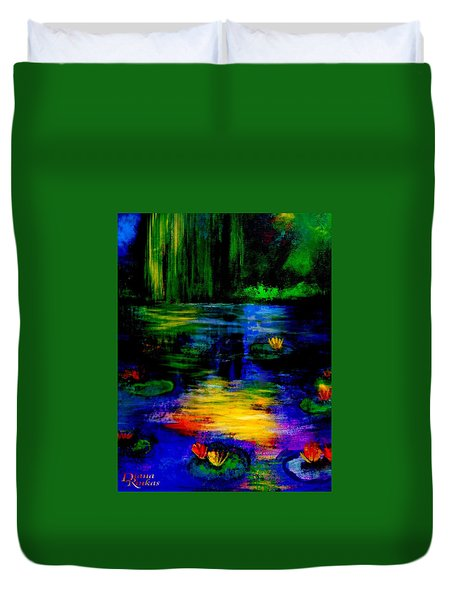 Moonlit  Lily Pond  Duvet Cover