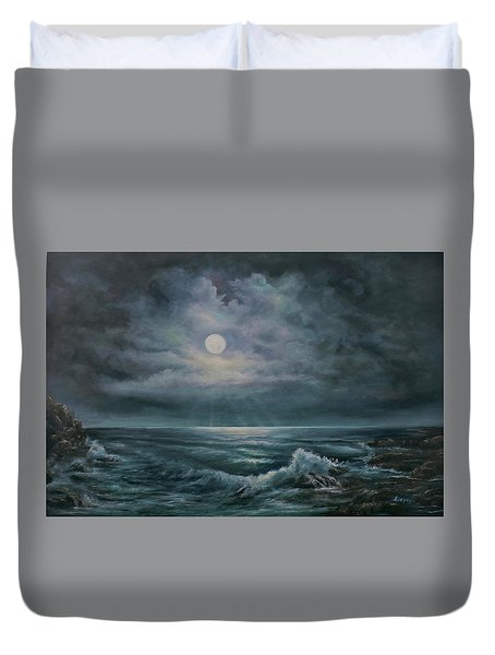 Duvet Cover featuring the painting Moonlit Seascape by Katalin Luczay