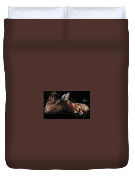Moonlit Moose Duvet Cover