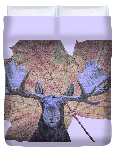 Duvet Cover featuring the photograph Moonlit Moose by Ray Shiu