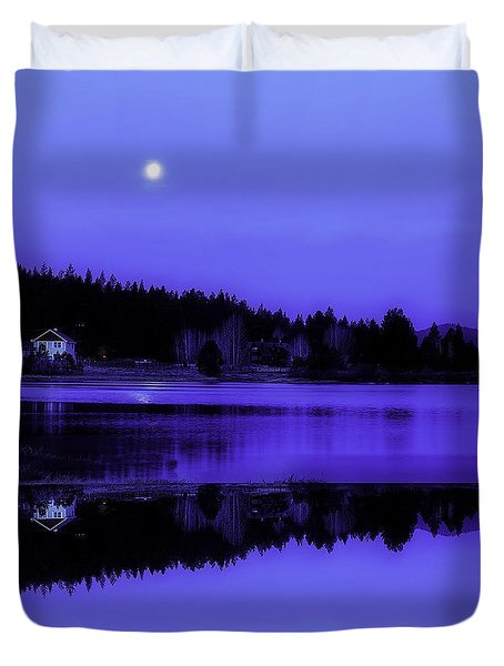 Duvet Cover featuring the photograph Moonlit Morning by Nancy Marie Ricketts