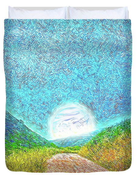 Duvet Cover featuring the digital art Moonlit Path - Marin California Trail by Joel Bruce Wallach