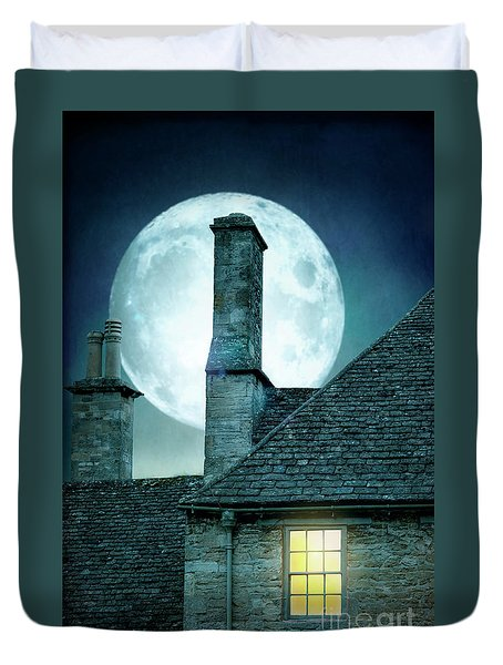 Moonlit Rooftops And Window Light  Duvet Cover