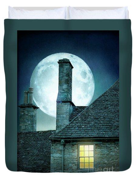 Moonlit Rooftops And Window Light  Duvet Cover by Lee Avison