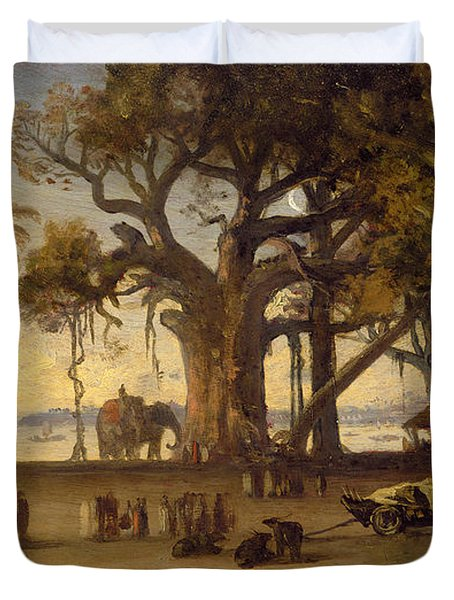 Moonlit Scene Of Indian Figures And Elephants Among Banyan Trees Duvet Cover by Johann Zoffany