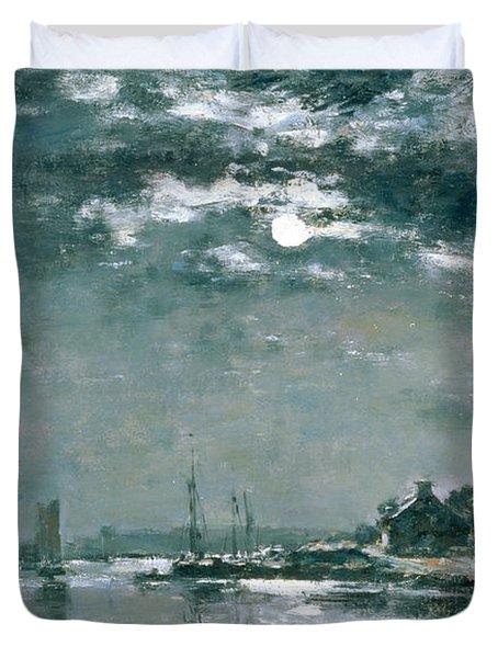 Moonlit Seascape Duvet Cover by Eugene Louis Boudin