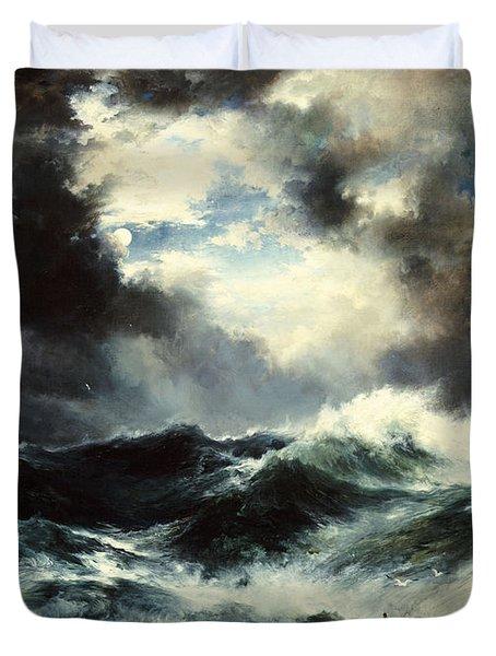 Moonlit Shipwreck At Sea Duvet Cover