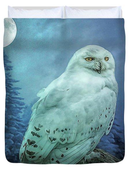 Moonlit Snowy Owl Duvet Cover
