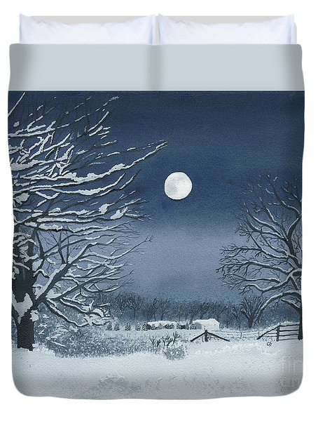 Moonlit Snowy Scene On The Farm Duvet Cover