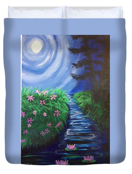 Moonlit Stream Duvet Cover