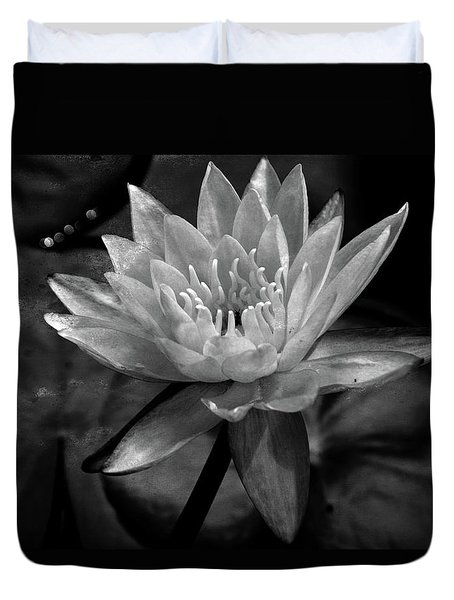 Moonlit Water Lily Bw Duvet Cover by Lesa Fine