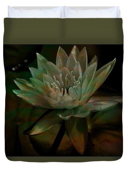 Moonlit Water Lily Duvet Cover