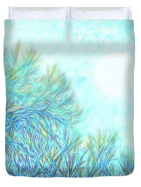 Duvet Cover featuring the digital art Moonlit Winter Trees In Blue - Boulder County Colorado by Joel Bruce Wallach