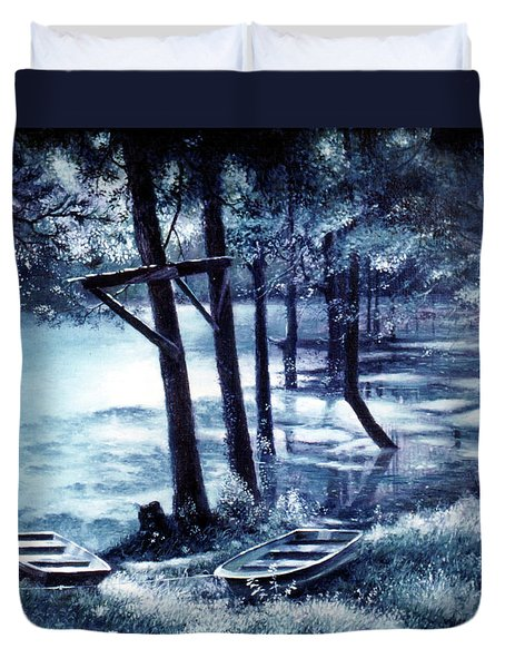 Moonlite On Village Creek Duvet Cover
