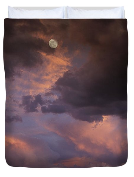 Moonrise And Sunset Duvet Cover by Sandra Bronstein