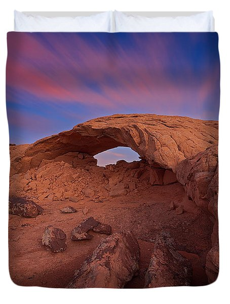 Duvet Cover featuring the photograph Moonrise Arch by Edgars Erglis