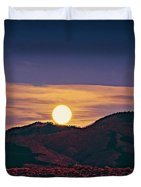 Moonrise In Northern New Mexico  Duvet Cover